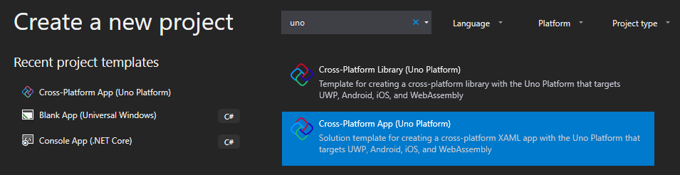 Creating a new Uno App