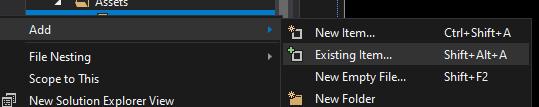Add existing item context menu