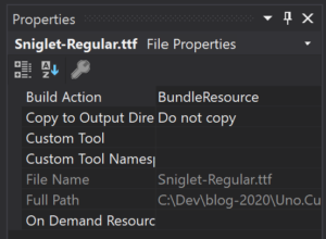 Font file has a BundleResource Build Action on iOS