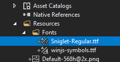 Font added in the Resources/Fonts folder in the iOS project