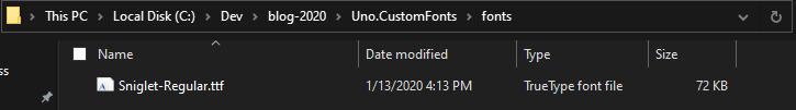 The font .ttf file copied in a custom folder in our solution